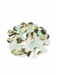 Confettis papier menthe, blanc et doré 3 cm - 36 g