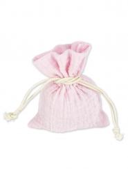 4 Pochons mousseline de coton rose 8 x 10 cm