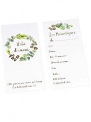 10 Cartes de pronostiques Bébé d'amour eucalyptus dorure or 10 x 20 cm