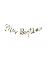 Guirlande en carton Mon Baptême métal or 10,5 à 21 cm - 1 m