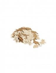 100 Confettis en kraft feuilles ivoire et bronze 3 x 2,5 / 1,5 cm