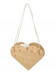 10 Sacs cœur végétal Parsemez l'amour kraft et bronze 12 x 13 cm