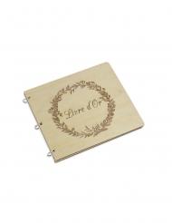 Livre d'or en bois couronne végétale 22,5 x 20 cm - 40 pages