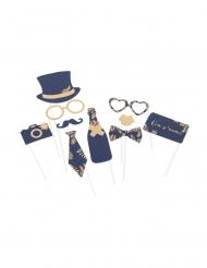 Kit photobooth fougères marine et cuivre 10 accessoires