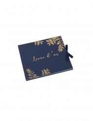 Livre d'or fougères marine et cuivre 22 x 19 cm 64 pages