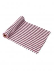 Chemin de table coton rayures rouges et blanches 5 m