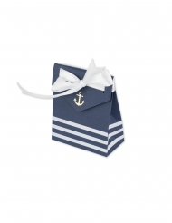 10 Boites carton ancre et marinière avec ruban blanc 7 x 8,5 cm