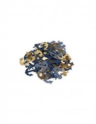 100 Confettis ancre or, marine et marinière 2,5 cm
