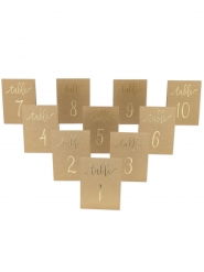 10 Marque-tables kraft dorure 1 à 10 15 x 10 cm