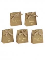10 Boites kraft mots dorés stickers et rubans 7 x 8,5 cm