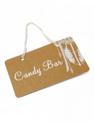 Pancarte Candy bar boho kraft et lien dentelle 25 x 15,5 cm