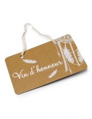 Pancarte Vin d'honneur boho kraft avec lien dentelle 25 x 15,5 cm