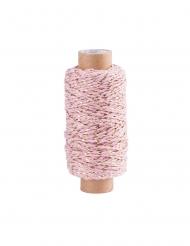 Bobine cordelette baker twine rose et doré 4 mm x 50 m