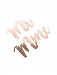 Suspension Mr et Mme rose gold avec ruban satin ivoire 30 à 40 cm