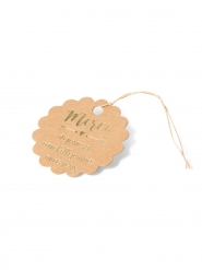 10 Etiquettes biscuits kraft Merci dorure or avec ficelle 6 cm
