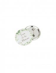 2 Badges team de la mariée eucalyptus et dorure 5 cm