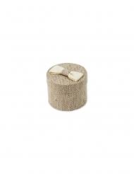 4 Boites rondes lin chevron et nœud ivoire 5,3 x 4,5 cm