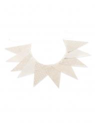 Guirlande de 10 fanions lin et blanc 15 x 21 cm - 2,90 m
