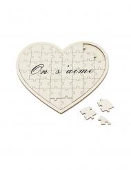 Livre d'or puzzle cœur en bois On s'aime 27 x 30 cm