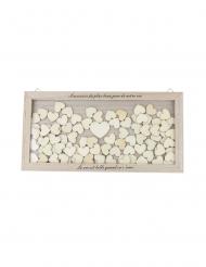 Cadre en bois livre d'or Plus beau jour 40 x 20 cm et 100 coeurs bois