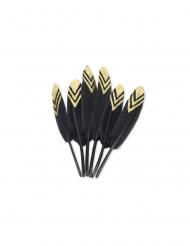6 Plumes éthniques noires et paillettes or 12-14 cm