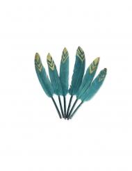 6 Plumes éthniques bleu paon et paillettes or 12-14 cm
