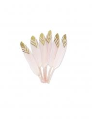 6 Plumes éthniques roses et paillettes or 12-14 cm
