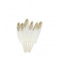 6 Plumes éthniques blanches et paillettes or 12-14 cm