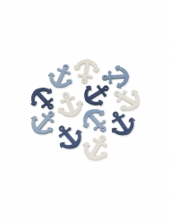 12 Ancres en bois bleues et blanches 4 cm