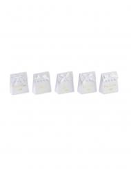 10 Boites blanches à ruban mots dorés 7 x 8,5 cm