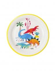 8 Assiettes en carton dinosaure blanches 23 cm