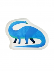 12 Plats en carton dinosaure blancs
