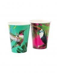 12 Gobelets en carton tropical des îles 300 ml