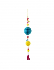 Suspension en papier et pompons boho multicolores 70 cm