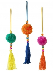 Suspension pompon boho multicolore 35 cm