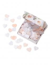 Confettis biodégradables cœurs roses pastel et blancs