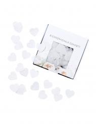 Confettis biodégradables cœurs blancs