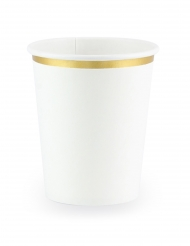 6 Gobelets en carton blancs et bordures dorées 260 ml