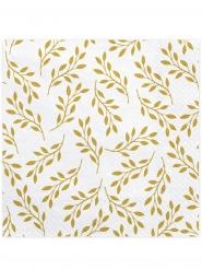 20 Serviettes en papier blanches feuilles dorées 33 x 33 cm