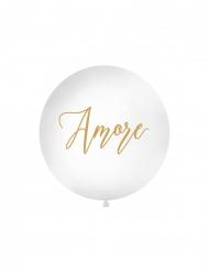 Ballon en latex géant amore blanc et doré 1 m