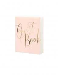 Guest book rose pâle et doré 22 pages 20 x 24,5 cm