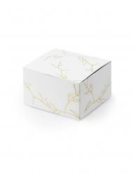 10 Boîtes en carton branches blanches et dorées 6 x 3,5 x 5,5 cm