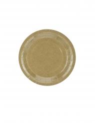 6 Petites assiettes en carton kraft brillant 18 cm