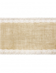 Chemin de table en jute bordures dentelle 28 cm x 2,75 m
