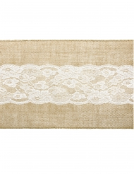 Chemin de table en jute centre dentelle 28 cm x 2,75 m