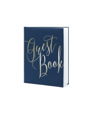 Guest book bleu et blanc 22 pages 24 x 18,5 cm