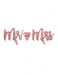 Ballon aluminium lettres Mr et Mrs rose gold 69 x 125 cm