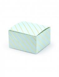 10 Boîtes en carton carrées bleues et dorées 6 x 3,5 x 5,5 cm