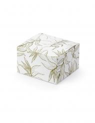 10 Boîtes en carton feuilles blanches et dorées 6 x 3,5 x 5,5 cm