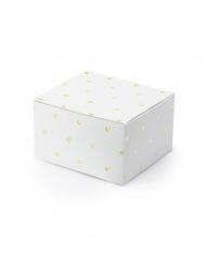 10 Boîtes en carton blanches cœurs dorés 6 x 3,5 x 5,5 cm